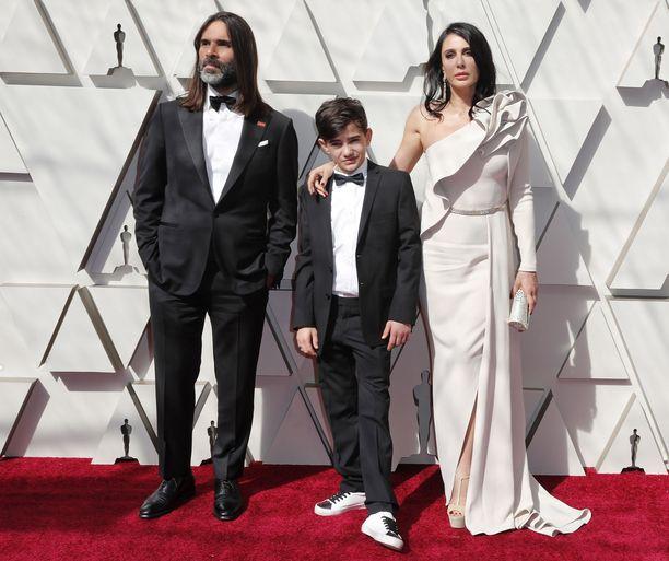 Khaled Mouzanar, Zain Al Rafeaa ja Nadine Labaki Oscar-tilaisuudessa Hollywoodissa.