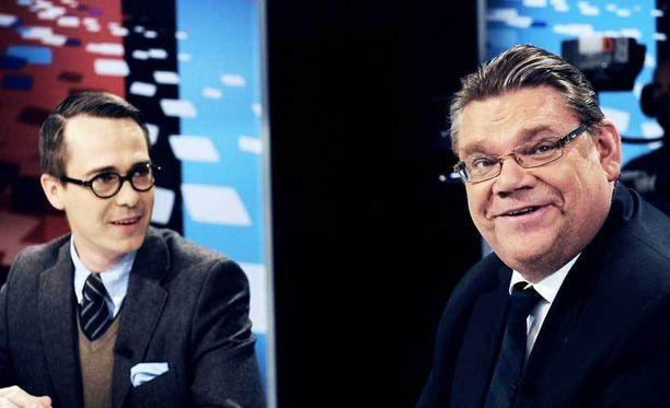 Carl Haglund ja Timo Soini ottivat yhteen vaaliväittelyssä.