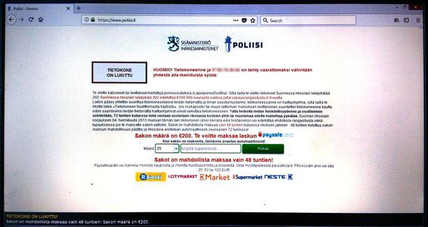 """""""Poliisivirus"""" lukitsi yrittäjän tietokoneen. Viruksen koneelle avaama viesti väitti yrittäjän levittäneen lapsipornoa. Viestissä oli poliisin ja sisäministeriön logot."""
