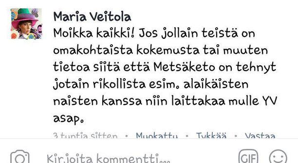 """Näin Maria Veitola etsi Metsäkedon """"uhreja""""."""