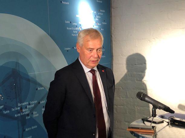 Pääministeri Antti Rinne (sd) suurlähettiläspäivillä Helsingin Korjaamolla maanantaina.