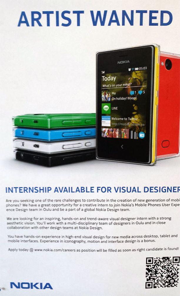 Ilmoituksessa tarjotaan työharjoittelupaikkaa Nokian muotoilutiimiin, joka työskentelee Oulussa.
