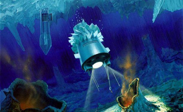 Taitelijan näkemys siitä, miten poraaja-luotain voisi tunkeutua Europan mereen jään alle etsimään elämää.