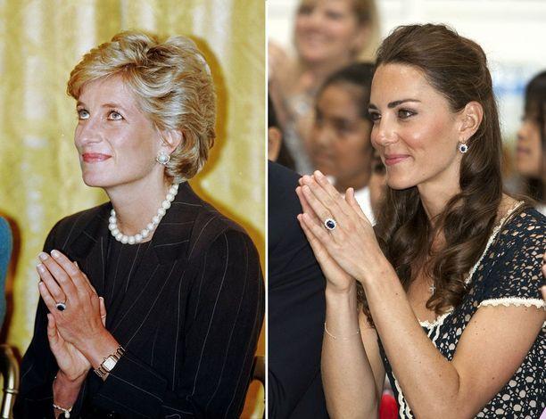 Vasemmalla prinsessa Diana, oikealla herttuatar Catherine.