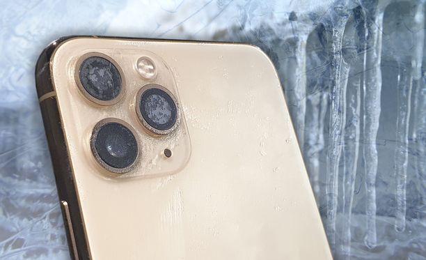 Iphone 11 Pro kestää testin perusteella hyvin kylmiä säitä.