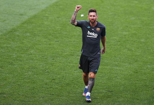 Messi harjoituskentällä ennen Barcelonan kauden päättänyttä, nöyryyttävää 8–2 -tappiota Bayern Münchenille Mestarien liigassa.