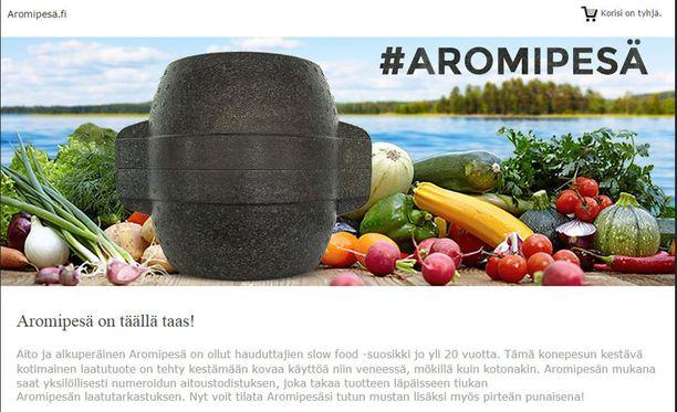 Aromipesä teki comebackin vuonna 2015, mutta nostalgiset mainokset eivät palanneet ruutuun. Ruutukaappaus sivustolta aromipesa.fi.