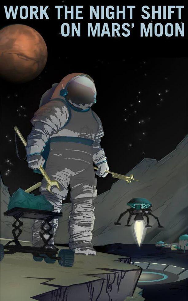 Marsissa voi nähdä Phobosin laskun ja nousun kahdesti päivässä. Se tietää vuoroja kuun valossa Marsiin päätyville.