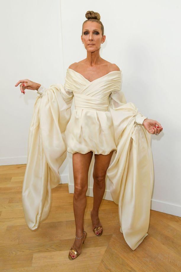Laulaja Celine Dion ei kainostele, vaan pukeutuu toinen toistaan näyttävämpiin ja jopa asuihin. Alexandre Vauthierin asu voisi kuvata jopa veistosmaiseksi.