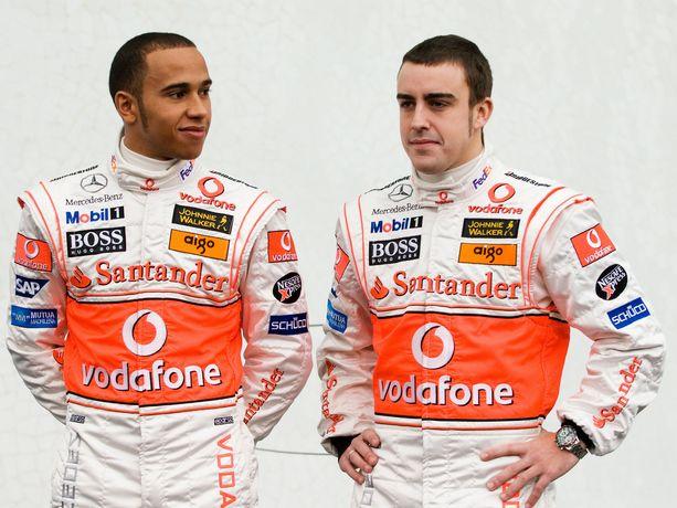 Lewis Hamilton ja Fernando Alonso olivat tallikavereita vuonna 2007.