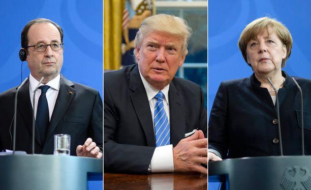 Yhdysvaltain presidentti Donald Trump (kesk.) keskustelee puhelimitse Ranskan presidentin Francois Hollanden ja Saksan liittokanslerin Angela Merkelin kanssa.
