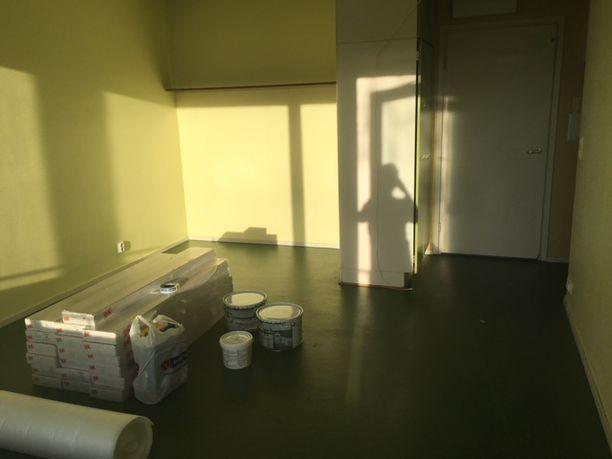 Olohuoneessa seinät olivat keltaiset ja lattia vihreä.