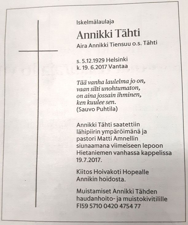Koskettava kuolinilmoitus julkaistiin lauantaina Helsingin Sanomissa.