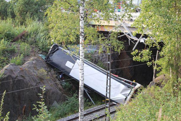 Ruotsin Kalixista lähtenyttä karaokeporukkaa kuljettanut linja-auto syöksyi alas moottoritien ylittävältä sillalta elokuun lopussa Kuopiossa. Bussi päätyi metrien pudotuksen jälkeen junaradalle.