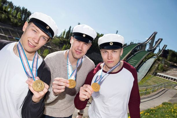 Emil Larmi (vas.), Miska Siikonen (kesk.) ja Sebastian Repo.