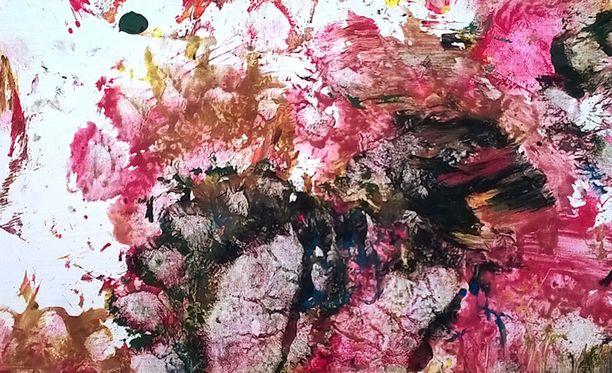 Juuson maalaama teos on vahvasti vaaleanpunainen ja sopii siksi Roosa nauha -keräykseen.