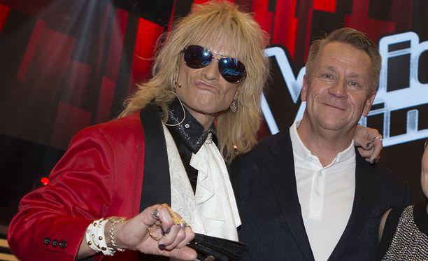 Michael Monroe ja Olli Lindholm olivat yhdessä peräti kolme kautta The Voice of Finlandissa. Kuva on vuodelta 2015.
