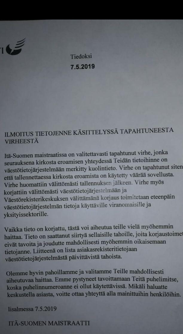 Tämän hyytävän kirjeen Hanna Miettinen sai toukokuussa Itä-Suomen maistraatista.