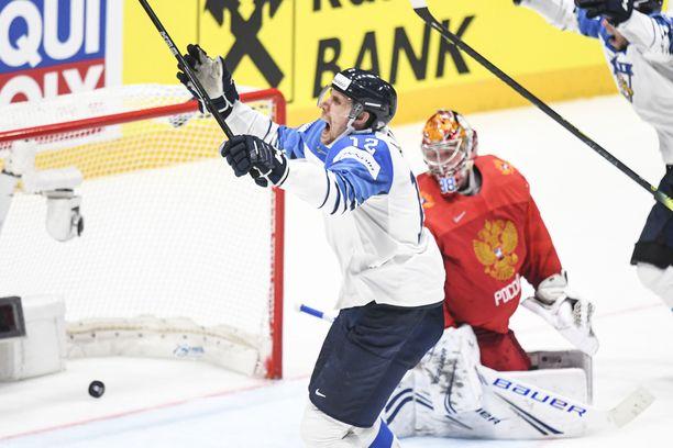 Marko Anttila sutaisi Suomen 1-0-voittomaalin, joka lennätti Leijonat MM-finaaliin.