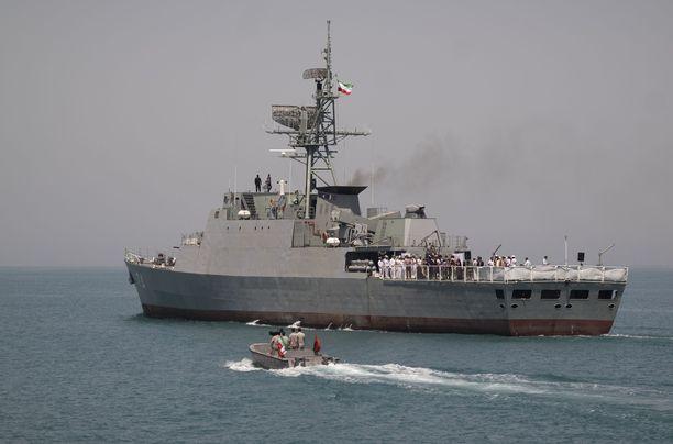 Sahand-fregatti on toinen Itämerellä seilaavista iranilaisaluksista. Kuva Hormuzinsalmelta keväältä 2019.
