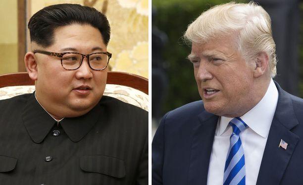 Pohjois-Korean johtaja Kim Jong-un ja USA:n presidentti Donald Trump.