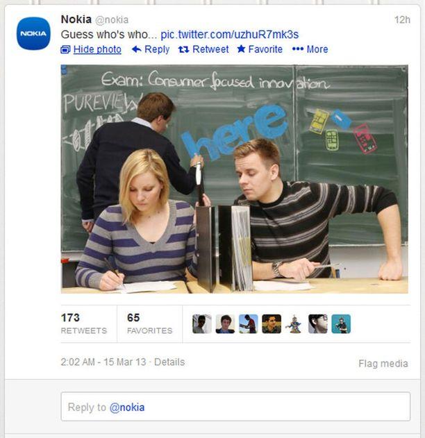 Nokia vihjasi Twitterissä Samsungin kopioineen uutuutensa ominaisuuksia.
