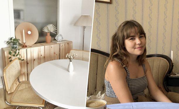 Sisustussuunnittelija Laura Luoto on mieltynyt rottinkiin materiaalina. Kotiaan hän on sisustanut pitkälti kierrätyslöydöillä.