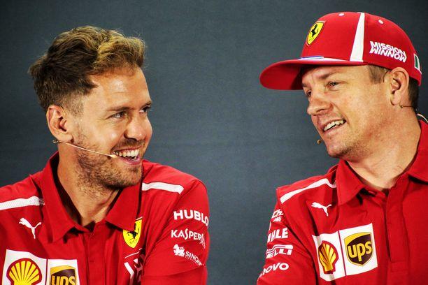 Sebastian Vettel ja Kimi Räikkönen olivat tallikavereita Ferrarilla 2015–2018.