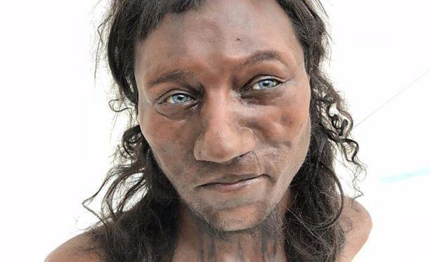 Rekonstruktio siitä, miltä Cheddarin mies on mahdollisesti näyttänyt. DNA paljastaa, että iho oli tumma.