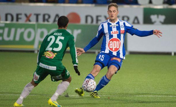 Ville Jalasto oli tyytyväinen HJK:n aktiiviseen pelaamiseen Rosenborgia vastaan.