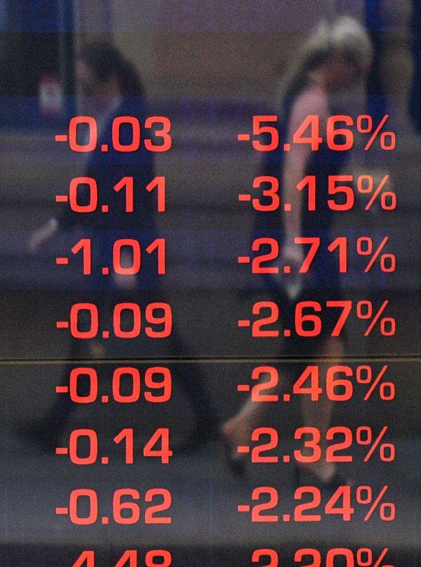Sydneyn pörssin kurssitaulu oli torstaina vahvasti punaisella.