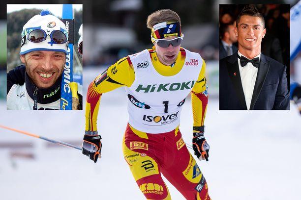 Hiihtäjä Joni Mäki ihailee Mika Myllylää (vas.) ja Cristiano Ronaldoa.