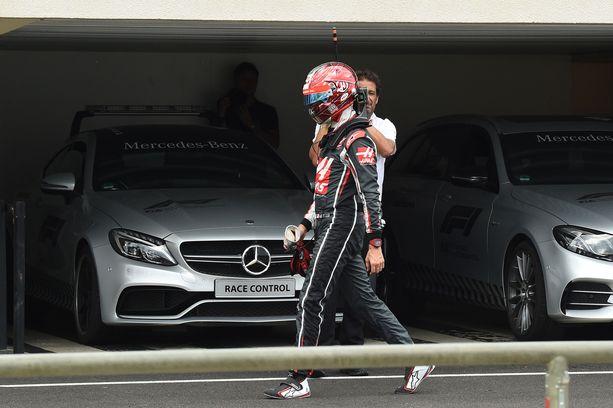Romain Grosjean joutui kulkemaan kallella kypärin useasti kauden 2018 aikana.