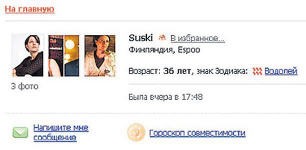 Susan Kurosen kuvilla ja Suski-nimellä varustettu deitti-ilmoitus on esillä venäläisellä sivustolla.