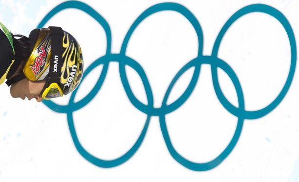 Noriaki Kasai ja olympiarenkaat.