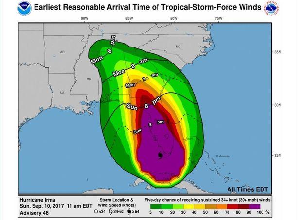 Viivat kertovat Yhdysvaltain kansallisen hurrikaanikeskuksen ennusteen Irman etenemisestä. Ajat ovat paikallista aikaa - kellot ovat Floridassa seitsemän tuntia Suomen aikaa jäljessä. Värit indikoivat voimakkaiden tuulten todennäköisyyttä.