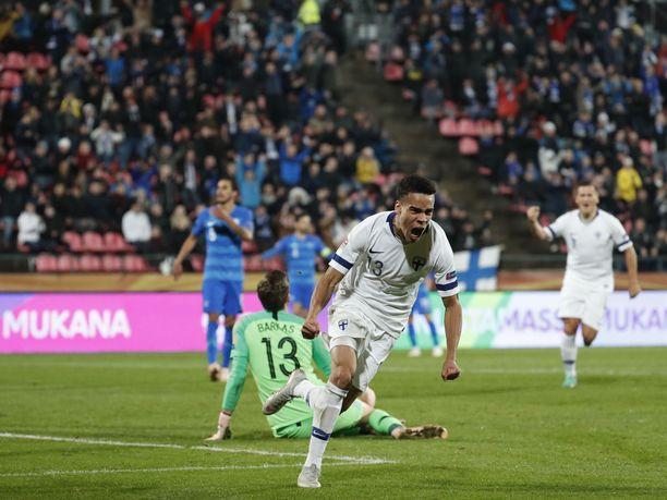 Pyry Soiri iski Suomen 1-0-maalin.