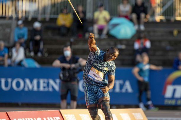Anderson Peters nakkasi Paavo Nurmen kisoissa tiistaina seitsemänneksi tuloksella 80,01.