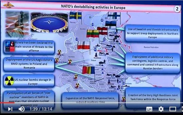 Venäläiskenraalin dioissa sanotaan Suomen ja Ruotsin antavan infrastruktuuriaan eli esimerkiksi satamia ja lentokenttiä Pohjois-Euroopassa tapahtuville Naton joukkojen siirroille.