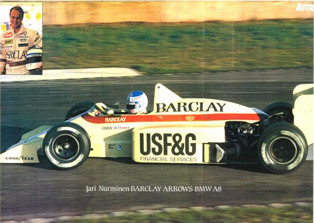 Jari Nurminen Arrows A8 -auton ratissa Doningtonissa 1986.