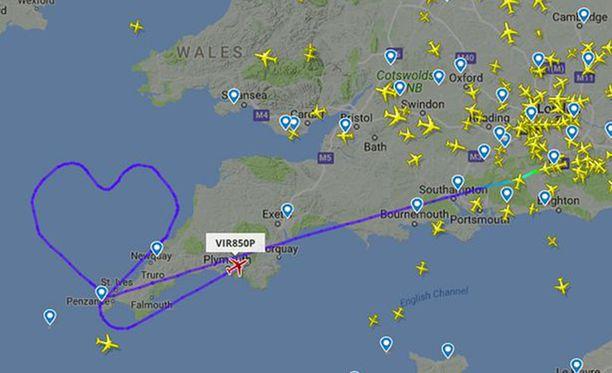 Lentokoneiden reittejä seuraavasta nettipalvelusta näkyy Virginin VIR850P:n ystävänpäiväkurvailu.