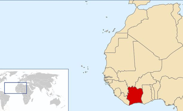 Norsunluurannikko Afrikan kartalla (punaisella)