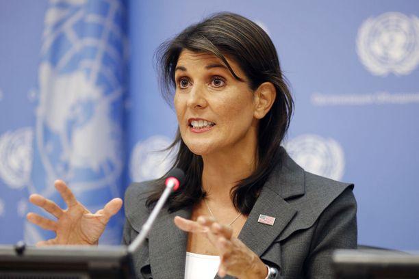 Nikki Haley esitti USA:n syytökset YK:n turvallisuusneuvoston kokouksessa maanantaina. Arkistokuva syyskuun alusta.