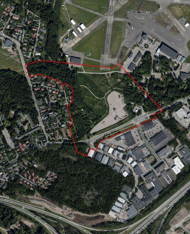 Tähän kohtaan Malmin lentokentän aluetta Nallerinne rakennetaan.