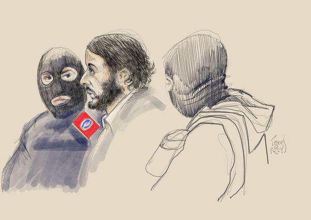 Piirroskuva Abdeslamista oikeuden ensimmäisenä päivänä.
