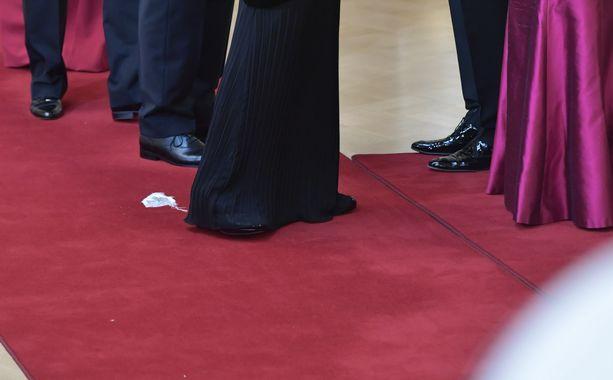 Valkoinen harsoinen käärö varasti huomion punaisella matolla.
