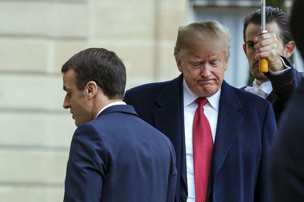 Ranskan presidentti Emmanuel Macronin ja Yhdysvaltojen presidentti Donald Trumpin välit ovat viilenneet jäätäviksi. Arkistokuva marraskuulta 2018.