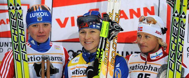 Aino-Kaisa Saarinen oli maalissa 13,1 sekuntia ennen toiseksi tullutta Irina Hazovaa.