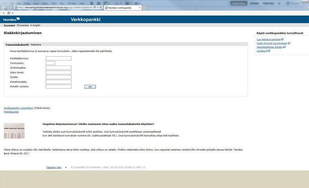 Huijaussivu imitoi Nordean verkkosivujen ulkonäköä.