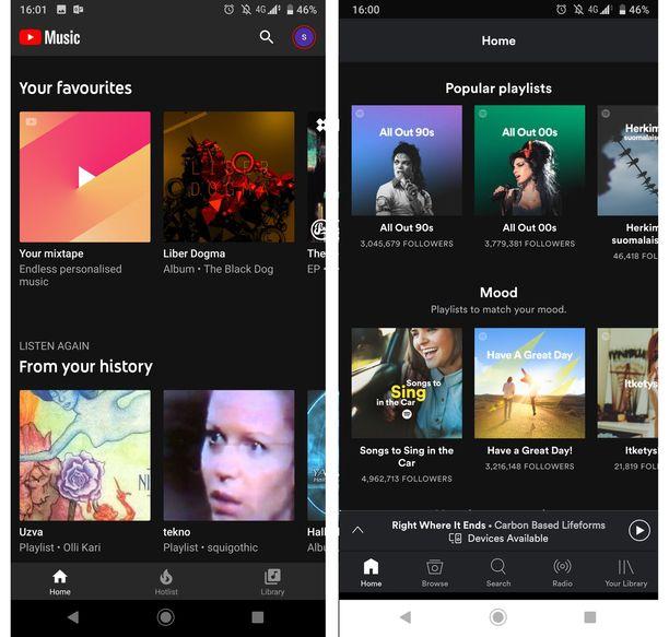 Vasemmalla Youtube Music ja oikealla Spotify.